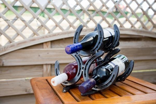 Horseshoe wine rack, handmade wine rack, gift for horse lover , country style gift